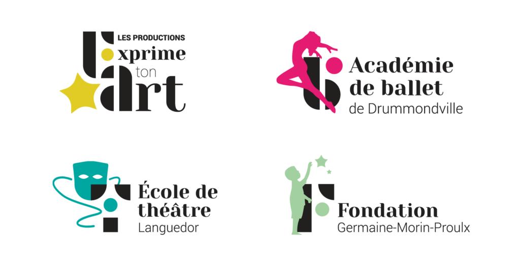 Quatre nouveaux logos Académie de ballet École de théâtre et Fondation Germaine-Morin-Proulx